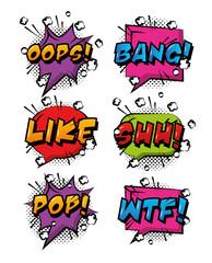 comic pop art speech bubbles colored effects retro design