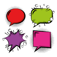 set of comic pop art speech bubbles