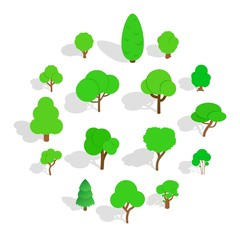 Tree icons in isometric 3d style. Park set isolated vector illustration