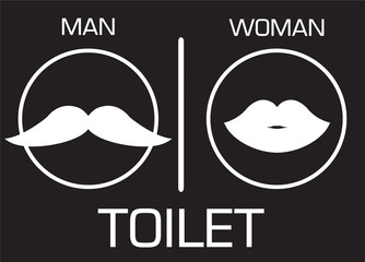 toilet Sign, Fitting room sign flat icon illustration, retro lady and gentleman symbol