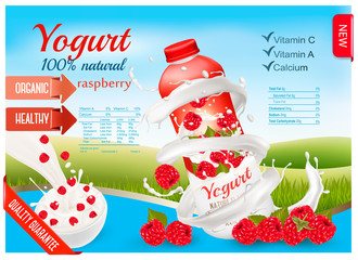Fruit yogurt with berries advert concept. White yogurt with fresh raspberry in plastic bottle. Design template. Vector.