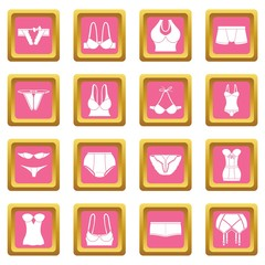 Underwear icons set vector pink square isolated on white background