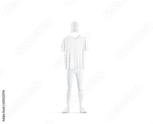 blank white uniform design mockup isolated empty cap t shirt pants and shoes