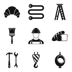 Professional activity icons set. Simple set of 9 professional activity vector icons for web isolated on white background