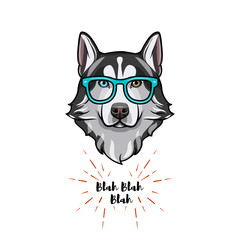 Siberian Husky geek. Smart glasses. Dog nerd. Husky portrait. Vector.