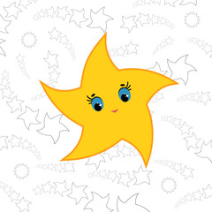 Yellow cartoon star. Simple flat vector illustration.