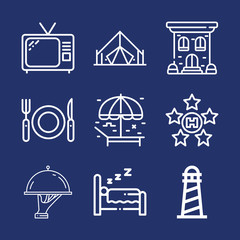 Set of 9 holidays outline icons