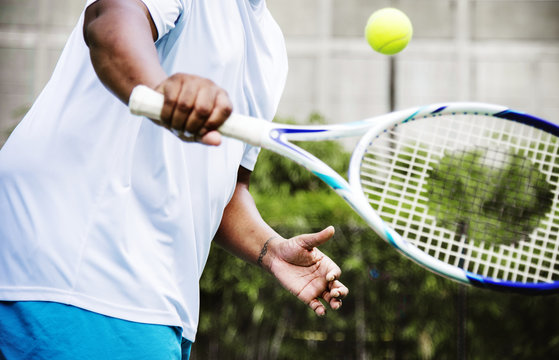 Player ready to hit a tennis ball