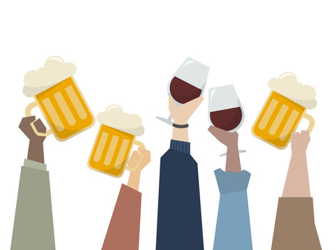 Illustration of hands holding alcohol drinks