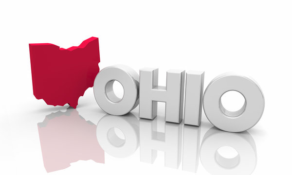 Ohio OH Red State Map Word 3d Illustration