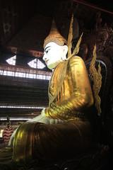 Big white Buddha statue in Myanmar