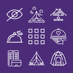 Set of 9 cover outline icons