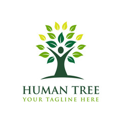 Human Tree Creative Concept Logo Template