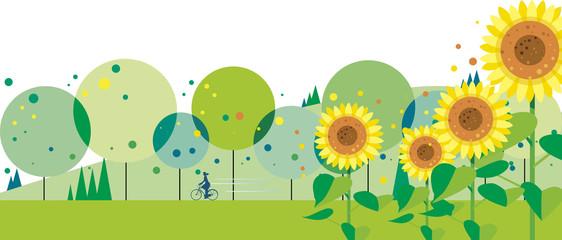 ヒマワリの咲く緑の道