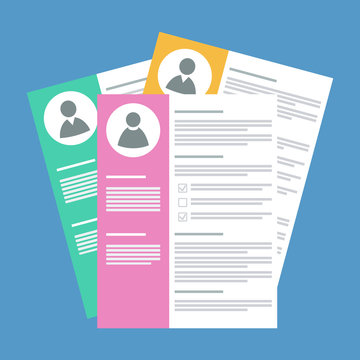 candidates resume stack, flat style vector illustration