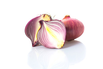 slice of red onion on white background