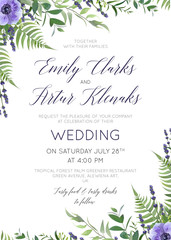 Wedding floral invite, invitation save the date card design with watercolor  lavender blossom, violet anemone flowers, forest greenery fern plants, green leaves & herbs. Rustic, garden vector template