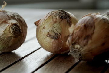 Onions close up on wooden background.