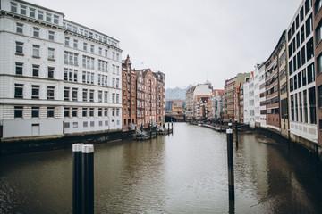 urban scene with city river and beautiful architecture, hamburg, germany
