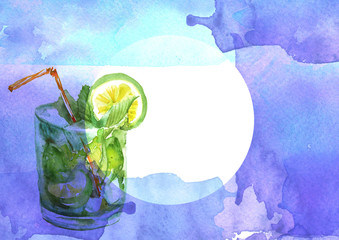 Watercolor drawing - cocktail of fruits, circe, lemon slice, lime, mint, ice. Cool drink with ice. Watercolor card, greeting card of blue, abstract spot. Splash, bright streaks of paint.