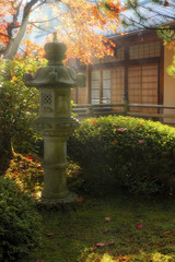 Sun Beams over Japanese Stone Lantern