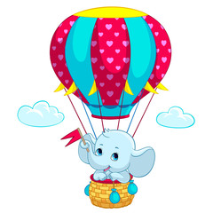 Elephant baby on hot air balloon cartoon vector illustration for kid birthday greeting card or T-shirt print design template. Flat cute little elephant traveling on air balloon with heart flags