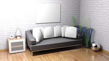 Horizontal empty canvas hanging on the wall - 3D rendering