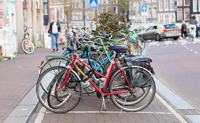 bicycles on the sidewalk in Amsterdam