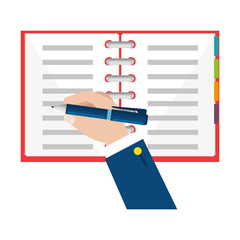 hand writing with pen in notebook vector illustration design