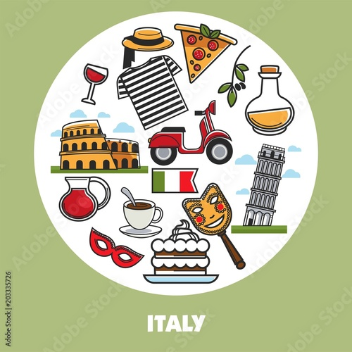 Italy Travel Landmark Symbols Vector Poster