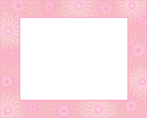 Pink flowers frame with blank white space for your text and images.