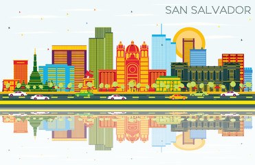 San Salvador City Skyline with Color Buildings, Blue Sky and Reflections.