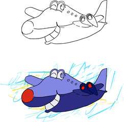 Happy airplane cartoon character