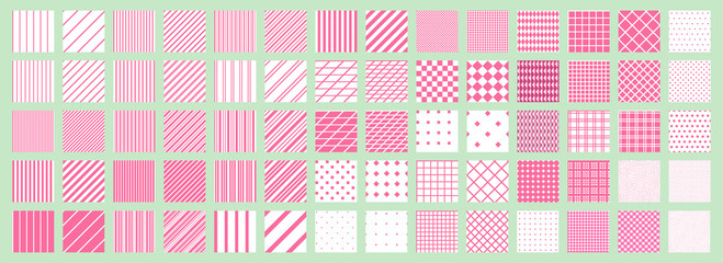 Big set of 70 seamless abstract patterns. Pink and white. Vector.