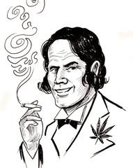 Gentleman smoking weed. Ink black and white drawing