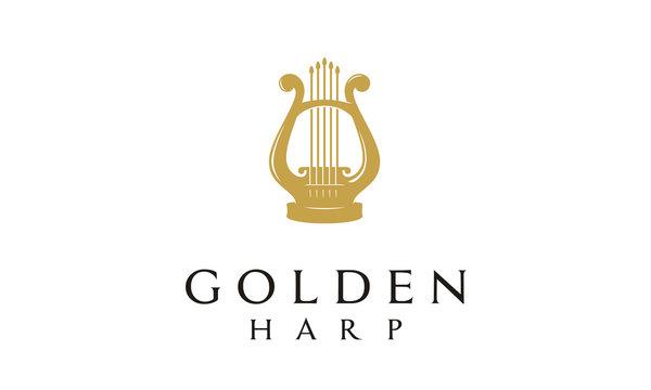 Elegant Golden Greek Harp, Lyre Classic Luxury Gold music instrument Logo design