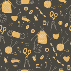 Seamless Pattern with Doodles Handmade Elements.