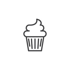 Cupcake outline icon. linear style sign for mobile concept and web design. Muffin cake simple line vector icon. Symbol, logo illustration. Pixel perfect vector graphics