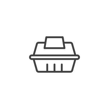 Take away food container outline icon. linear style sign for mobile concept and web design. Fast food delivery simple line vector icon. Symbol, logo illustration. Pixel perfect vector graphics