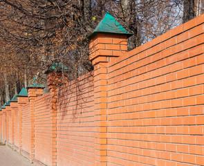 Red brick fence