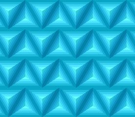 Seamless blue ethno pattern with 3D geometric shapes. Vector texture for your design