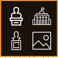 Set of 4 museum outline icons