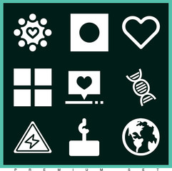Set of 9 shapes filled icons