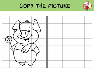 Funny little pig with lollipop. Copy the picture. Coloring book. Educational game for children. Cartoon vector illustration