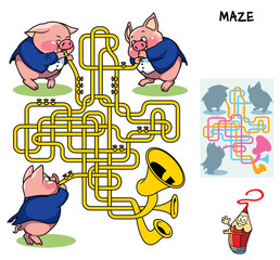 Brass band of three little pigs. Educational maze game for children. Cartoon vector illustration