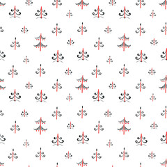 Seamless Mezen pattern with firs trees wood. Ethnic background. Red, black, white.