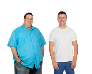 Fat and men smiling and looking at camera