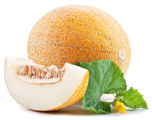 Ripe melons with fresh melon leaves on white background.