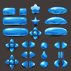Set game ui. Complete blue menu of graphical user interface GUI to build 2D games. Casual Game. Vector.