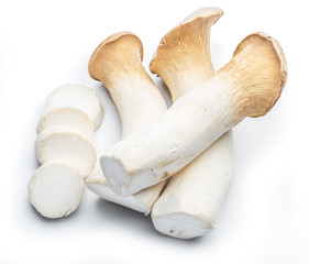 King oyster mushrooms on the white background.